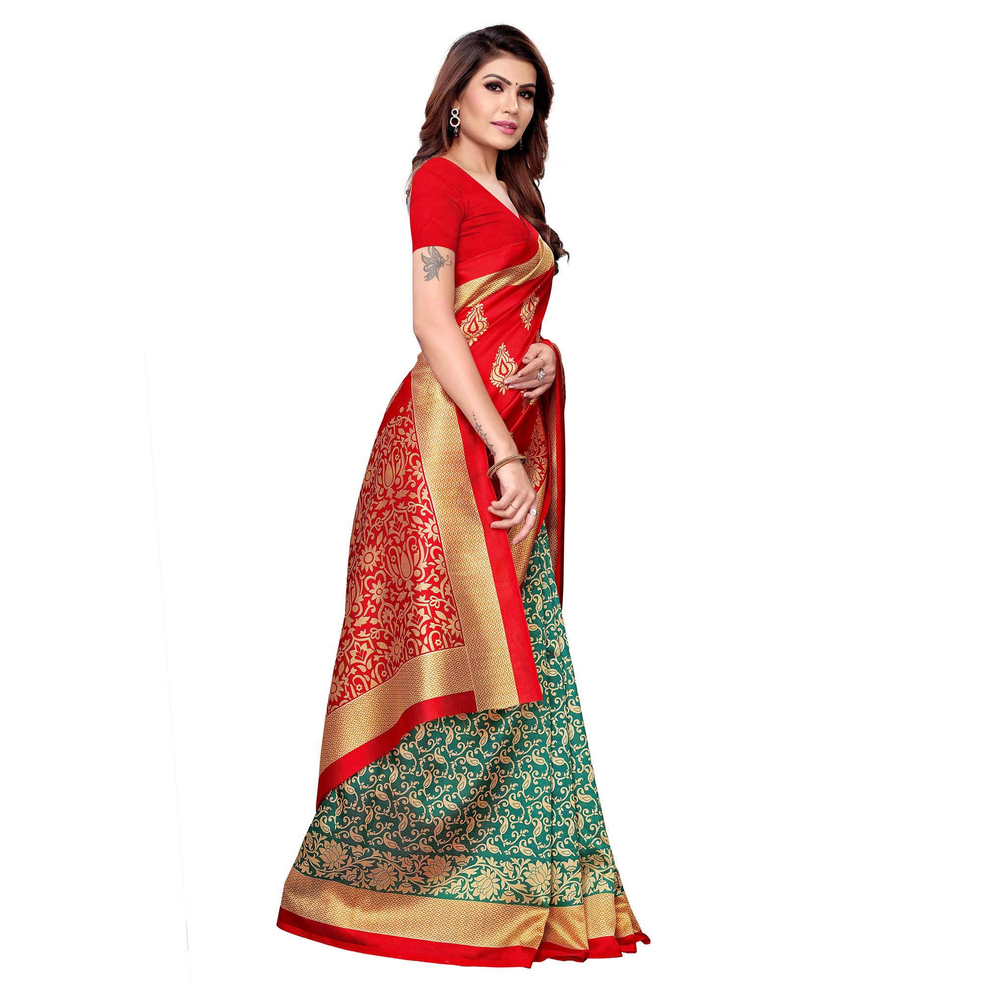 Imposing Red - Turquoise Green Colored Casual Wear Printed Art Silk Saree