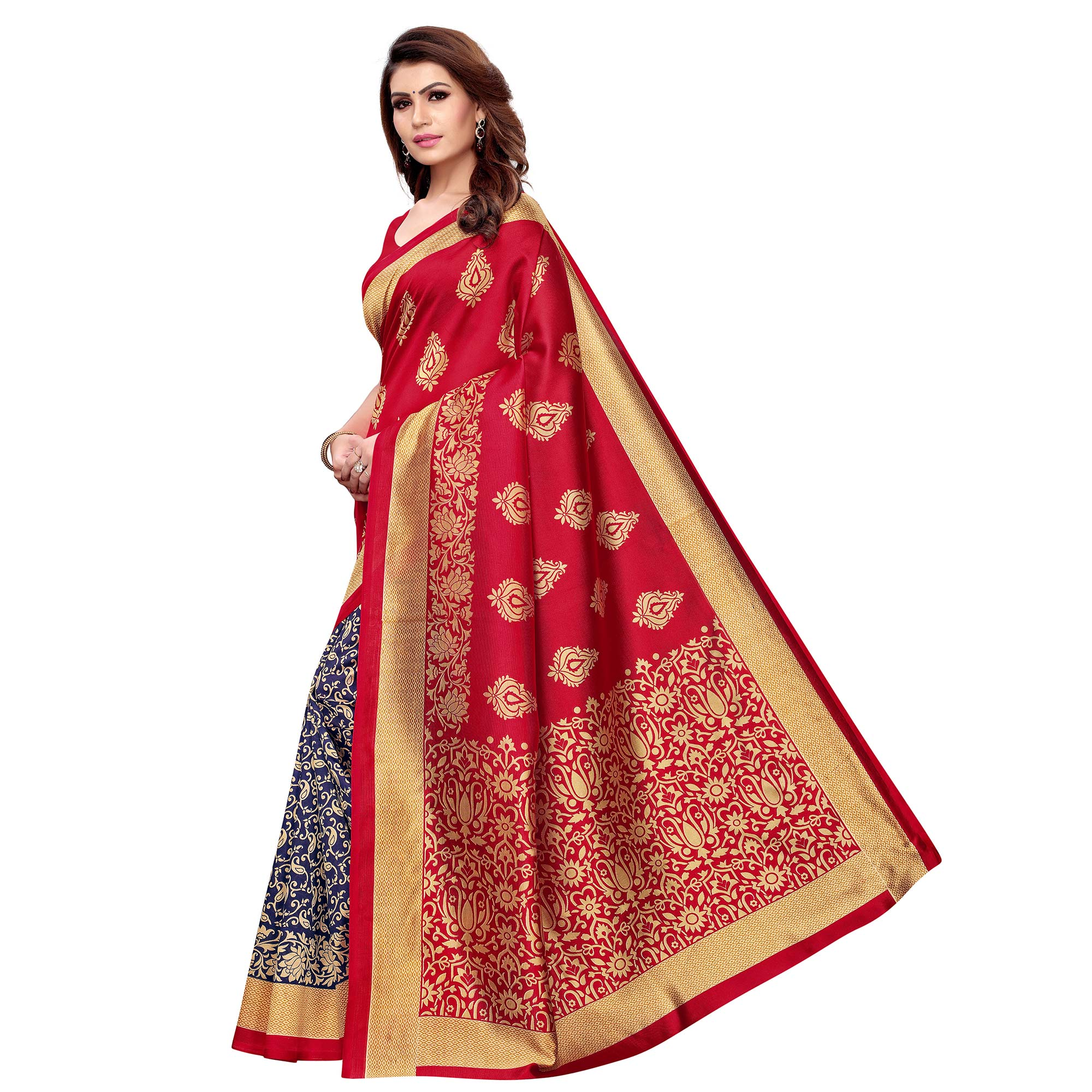 Lovely Red - Blue Colored Casual Wear Printed Art Silk Saree