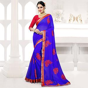 Royal Blue Embroidered Partywear Georgette Saree