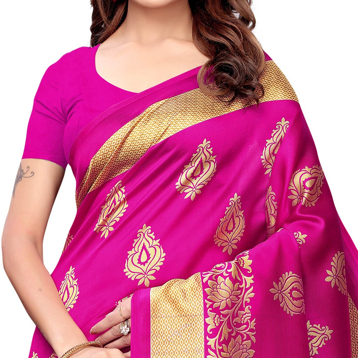 Majesty Rani Pink - Blue Colored Casual Wear Printed Art Silk Saree