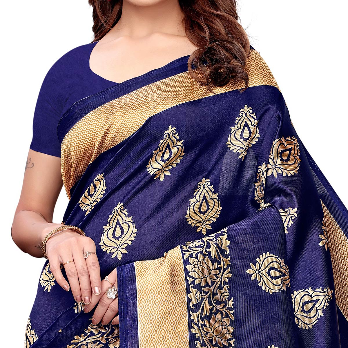 Impressive Navy Blue - Red Colored Casual Wear Printed Art Silk Saree