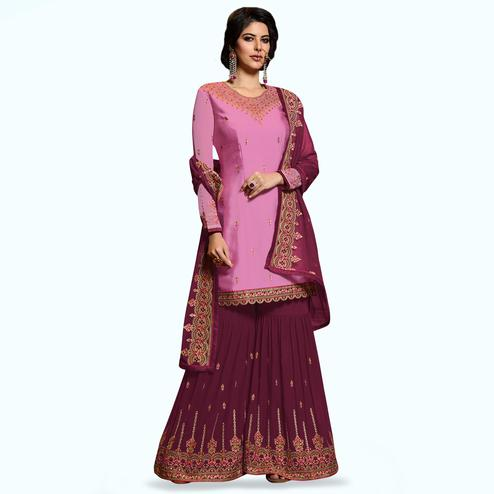 Pretty Pink Colored Partywear Embroidered Satin Georgette Palazzo Suit
