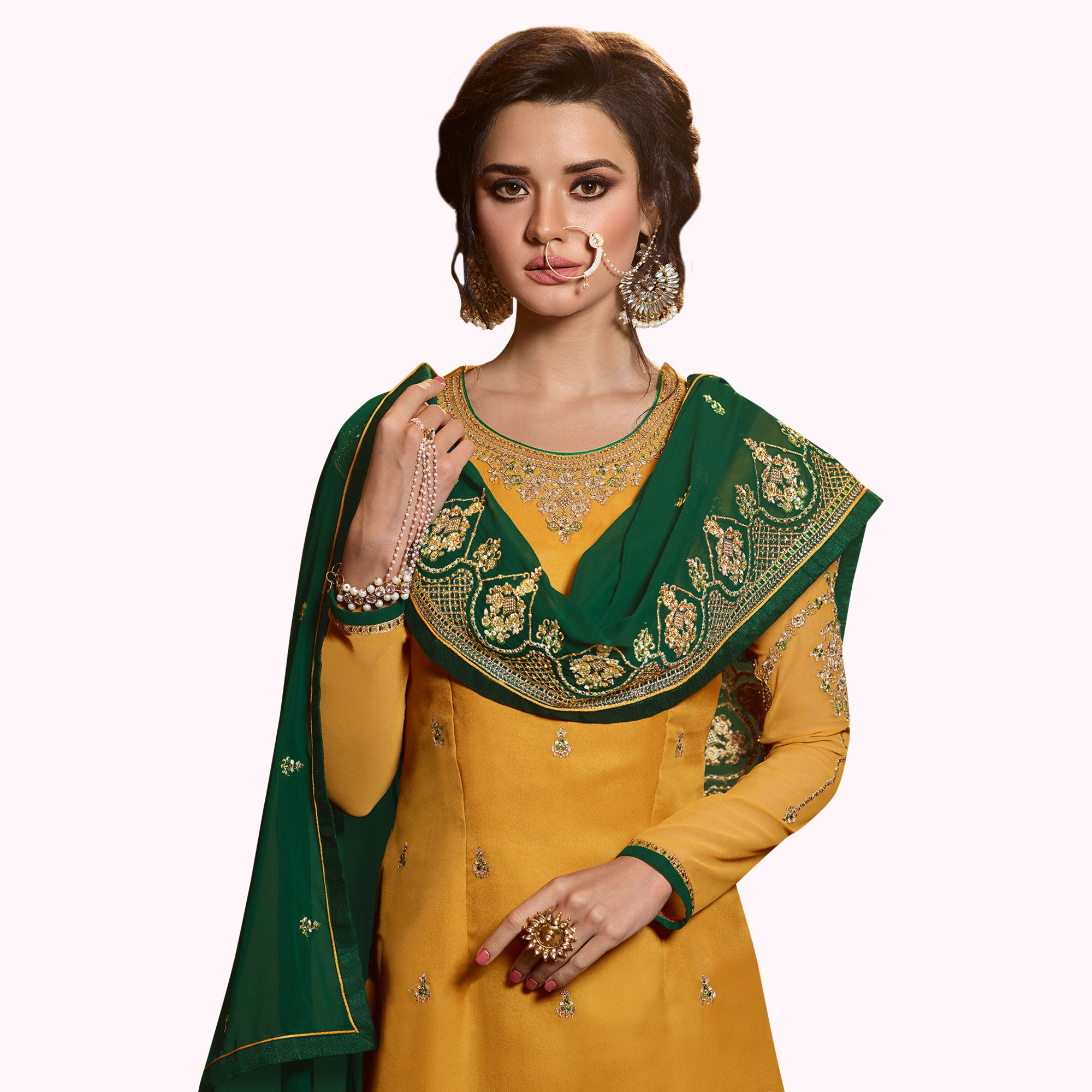Alluring Yellow Colored Partywear Embroidered Satin Georgette Palazzo Suit