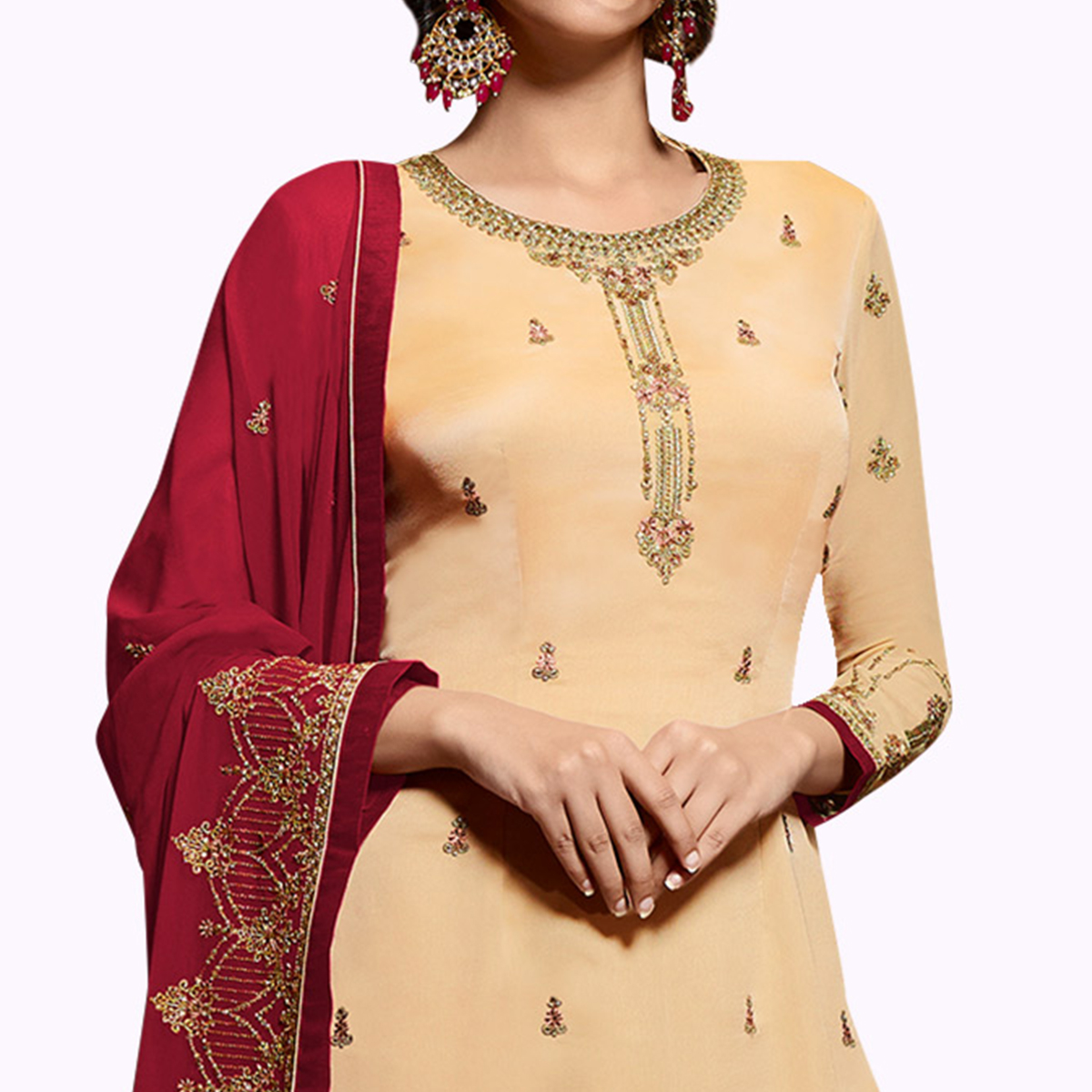Sensational Beige Colored Partywear Embroidered Satin Georgette Palazzo Suit
