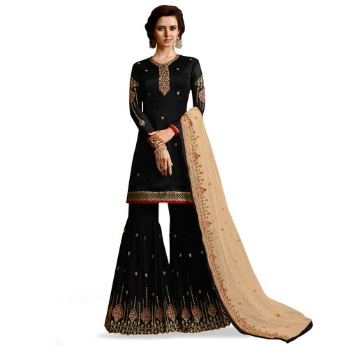 Flaunt Black Colored Partywear Embroidered Satin Georgette Palazzo Suit