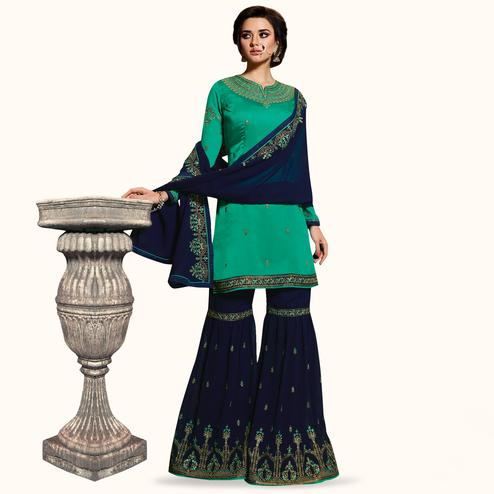 Stunning Rama Green Colored Partywear Embroidered Satin Georgette Palazzo Suit