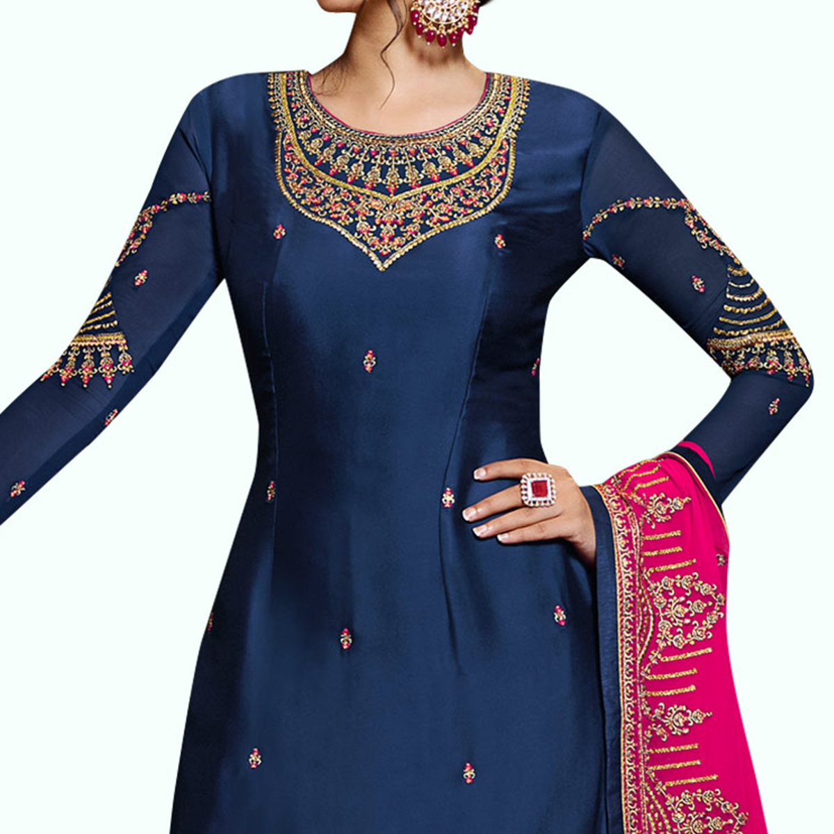 Flirty Navy Blue Colored Partywear Embroidered Satin Georgette Palazzo Suit