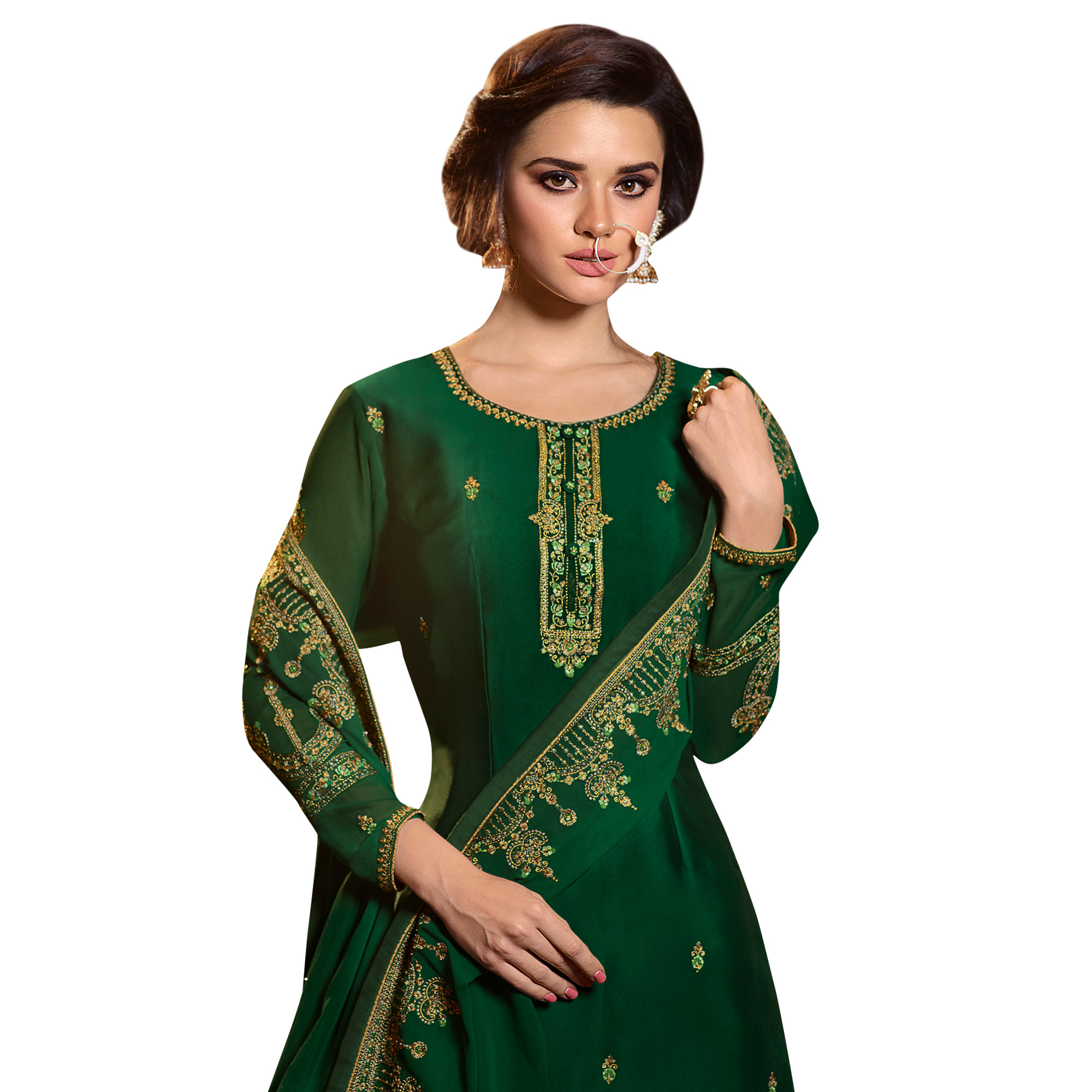 Magnetic Bottle Green Colored Partywear Embroidered Satin Georgette Palazzo Suit