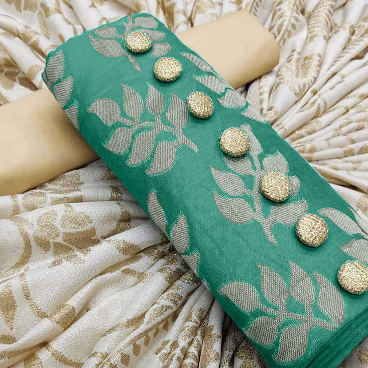 Amazing Green Colored Partywear Jacquard Silk Dress Material