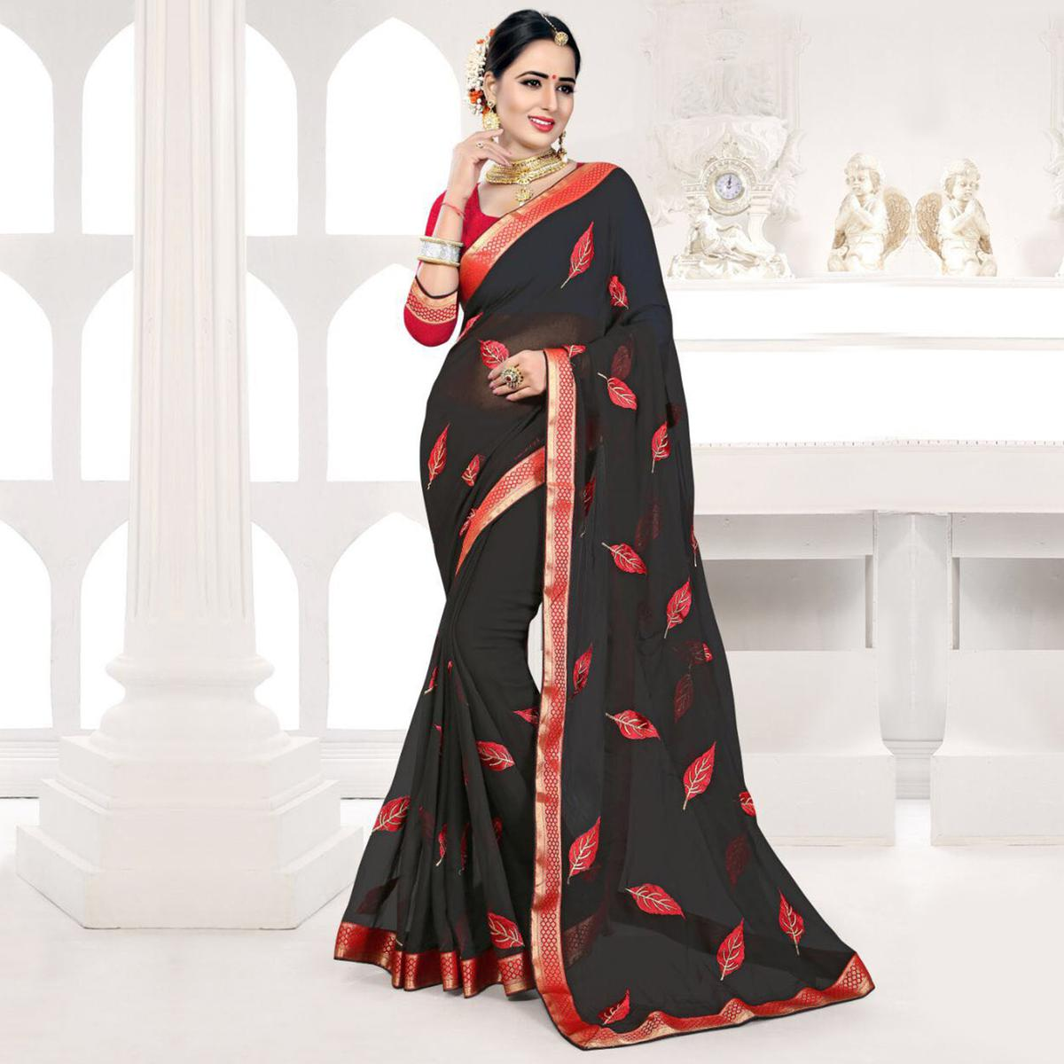 Black Embroidered Partywear Georgette Saree