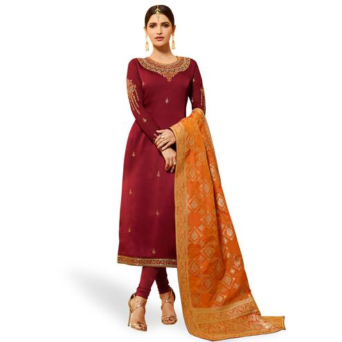 Delightful Maroon Colored Partywear Embroidered Georgette Salwar Suit With Banarasi Dupatta