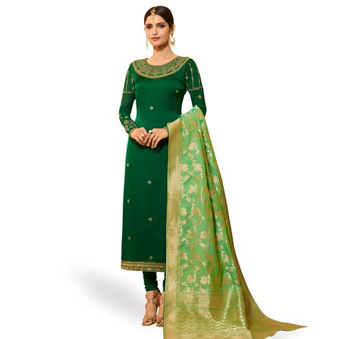 Engrossing Green Colored Party Wear Embroidered Georgette Salwar Suit