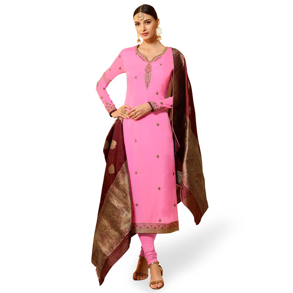 Captivating Pink Colored Partywear Embroidered Georgette Salwar Suit With Banarasi Dupatta