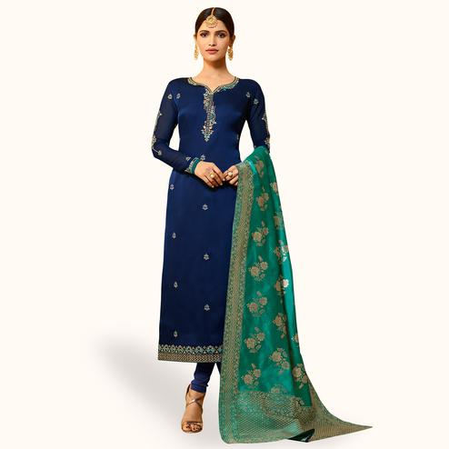 Innovative Navy Blue Colored Partywear Embroidered Georgette Salwar Suit With Banarasi Dupatta