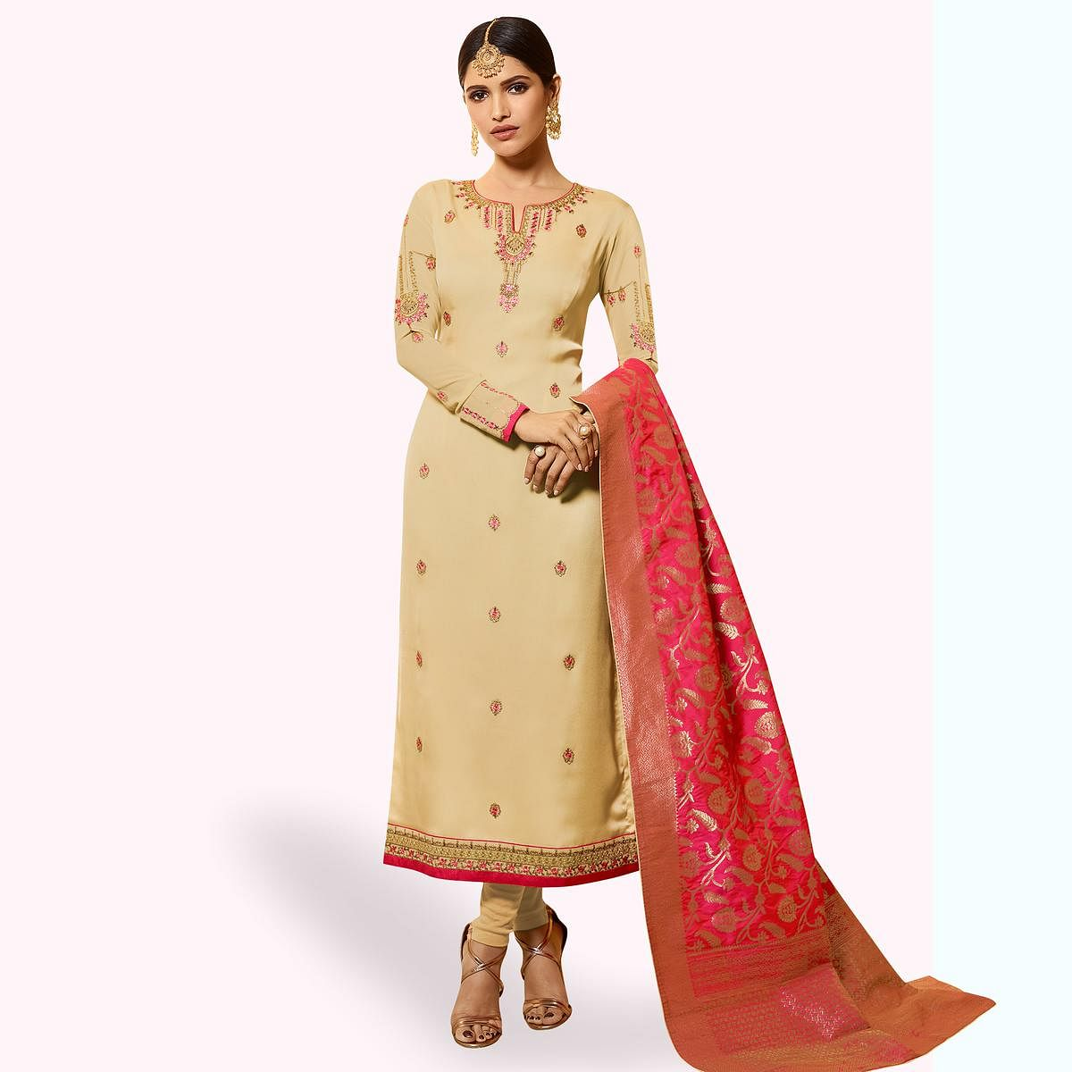 Eye-catching Beige Colored Partywear Embroidered Georgette Salwar Suit With Banarasi Dupatta