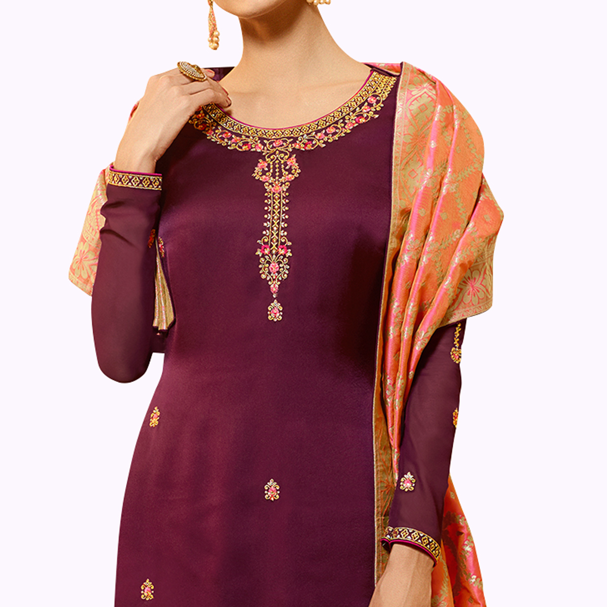Fantastic Wine Colored Partywear Embroidered Georgette Salwar Suit With Banarasi Dupatta