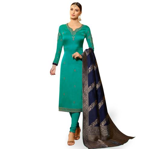 Amazing Turquoise Green Colored Partywear Embroidered Georgette Salwar Suit With Banarasi Dupatta