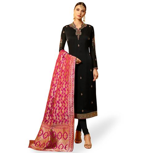 Gorgeous Black Colored Partywear Embroidered Georgette Salwar Suit With Banarasi Dupatta
