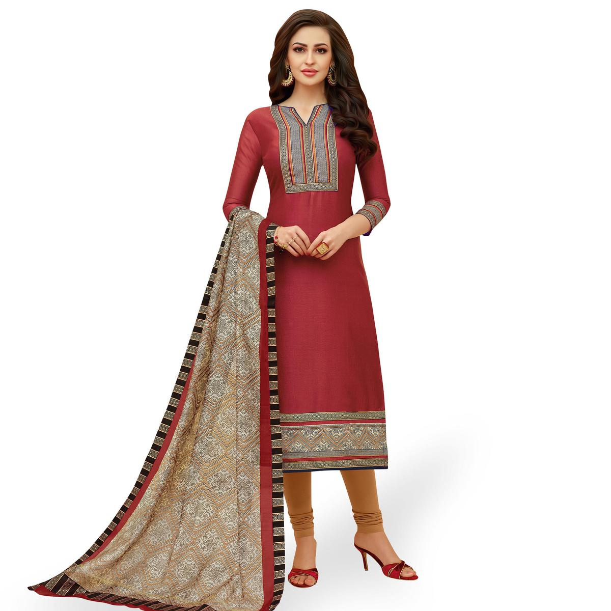 Captivating Red Colored Casual Printed Cotton Suit