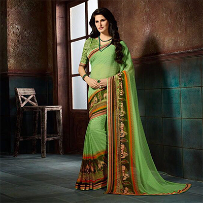 Gorgeous Green Printed Casual Wear Marble Georgette Saree