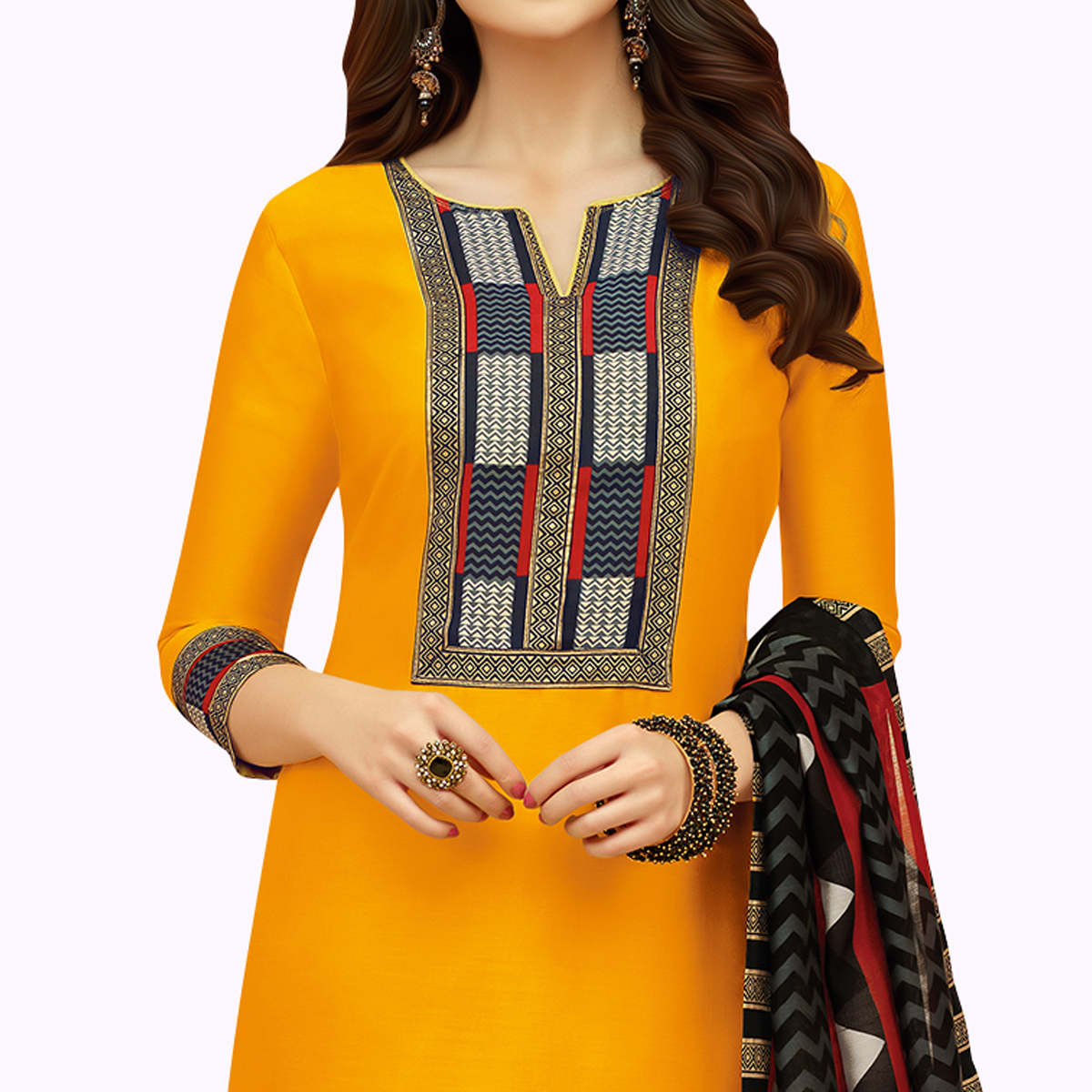 Eye-catching Yellow Colored Casual Printed Cotton Suit