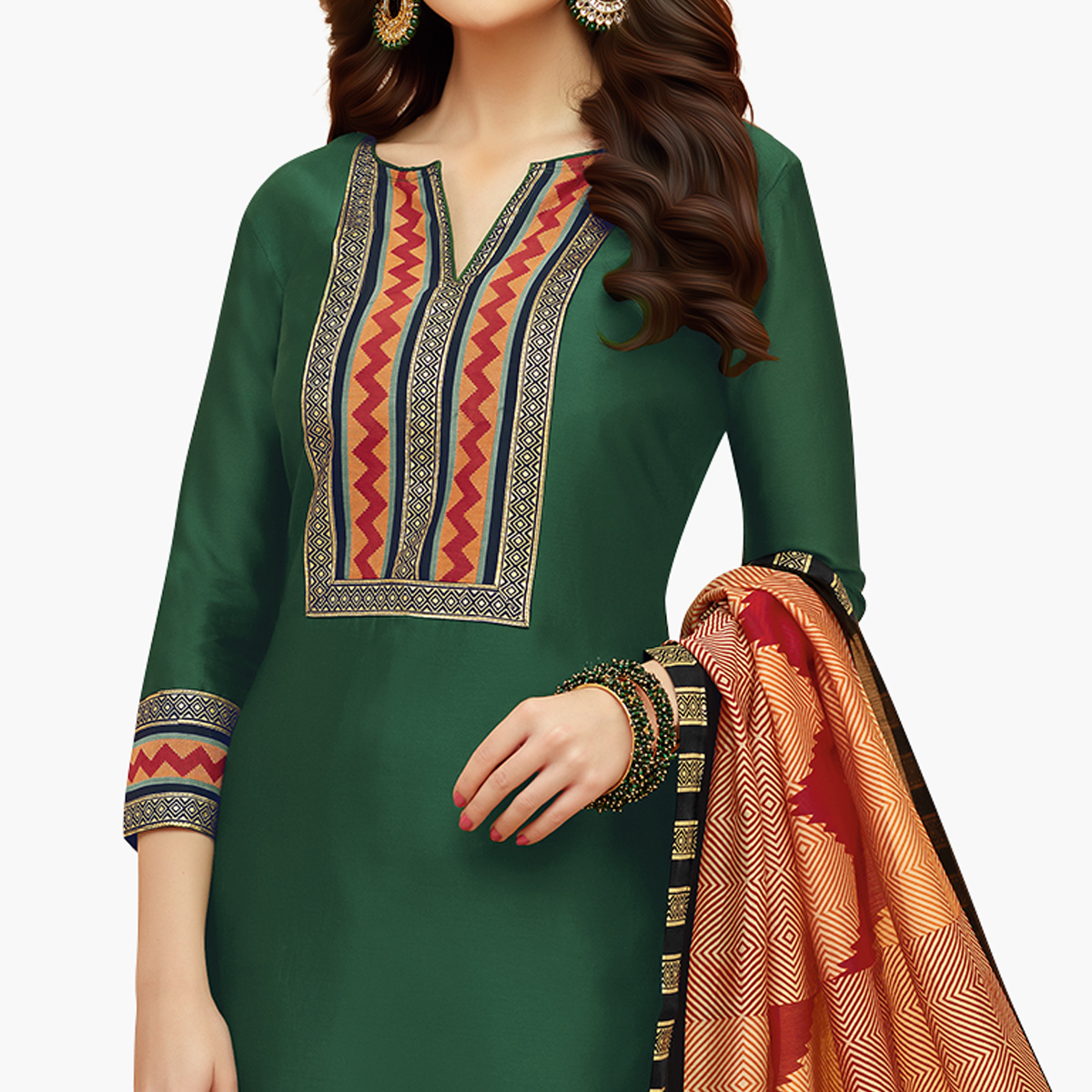 Fantastic Dark Green Colored Casual Printed Cotton Suit