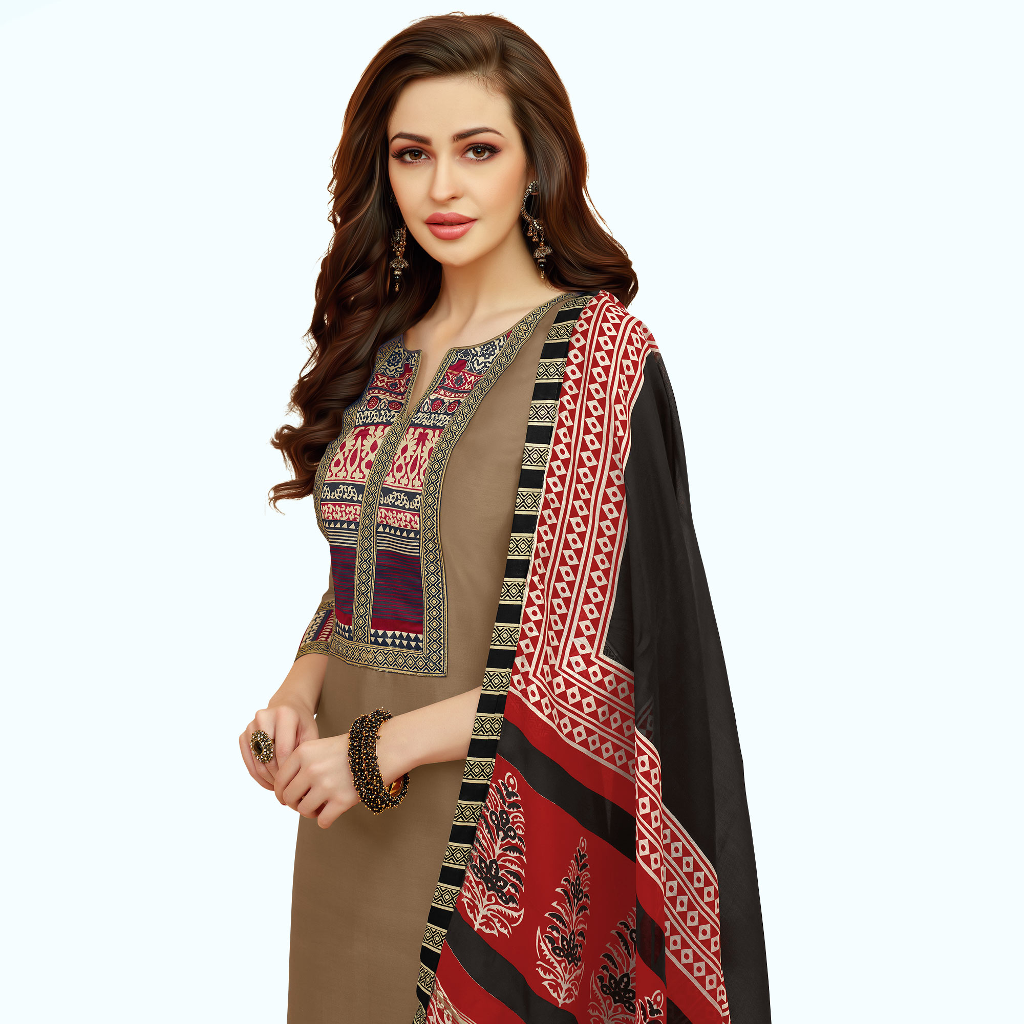 Amazing Chikoo Colored Casual Printed Cotton Suit