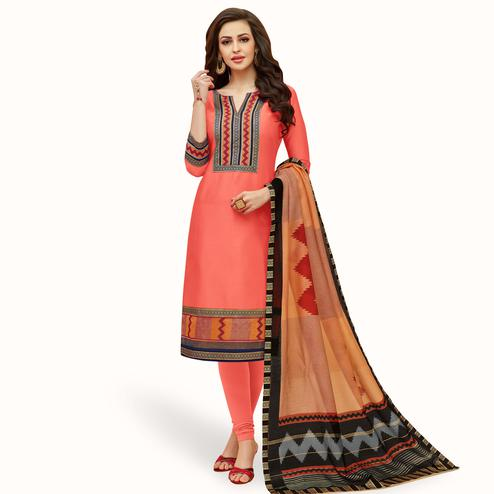 Gorgeous Peach Colored Casual Printed Cotton Suit