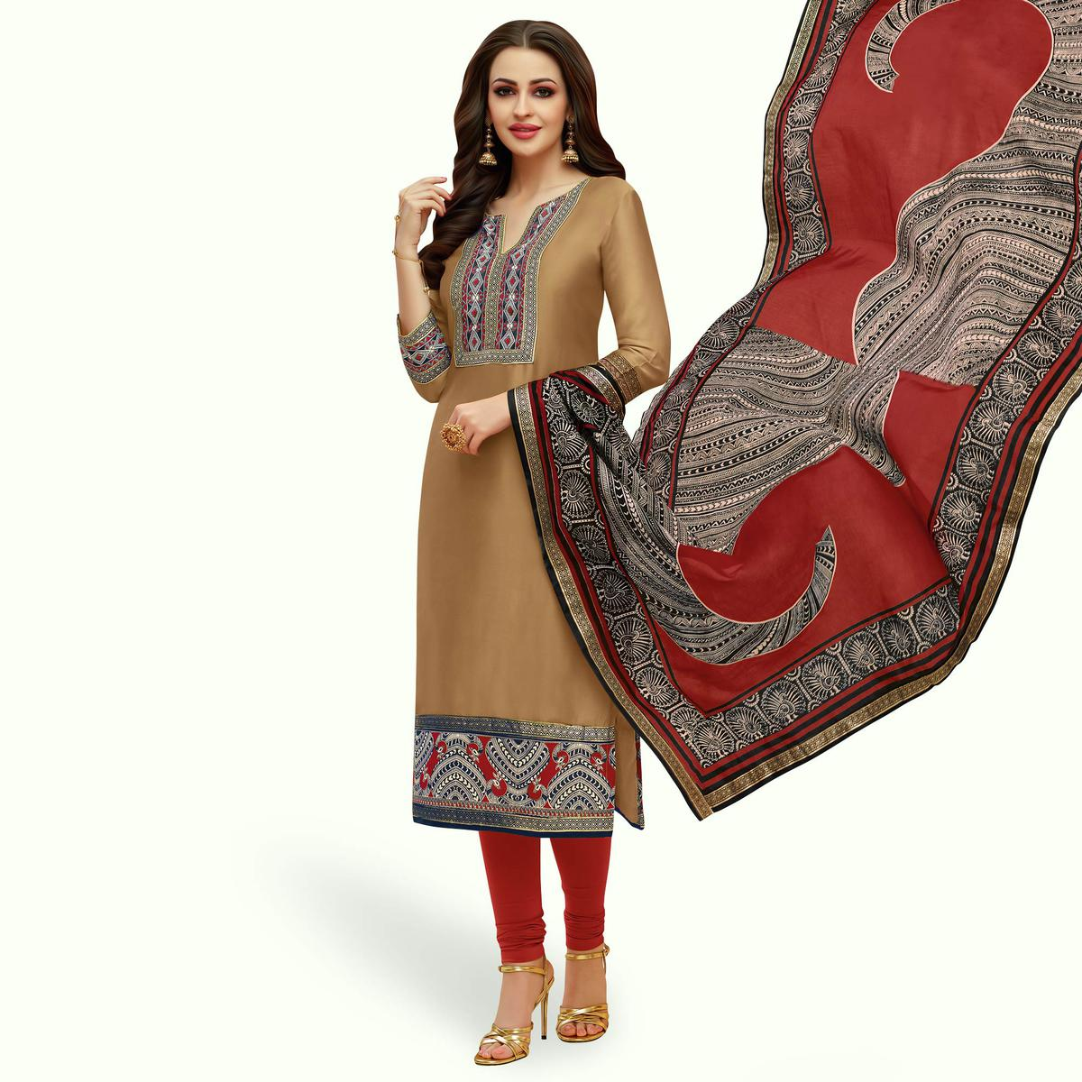 Blissful Beige Colored Casual Printed Cotton Suit