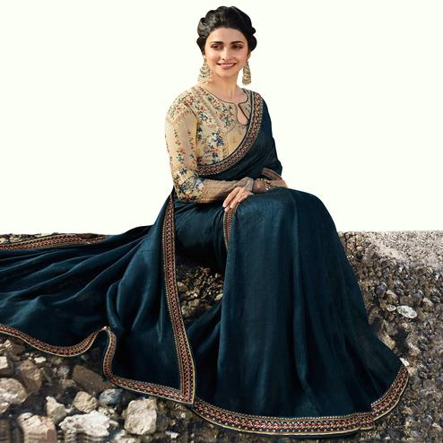 Intricate Dark Teal Blue Colored Partywear Embroidered Silk Saree