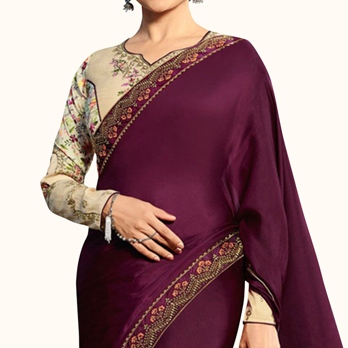 Arresting Wine Colored Partywear Embroidered Georgette Saree