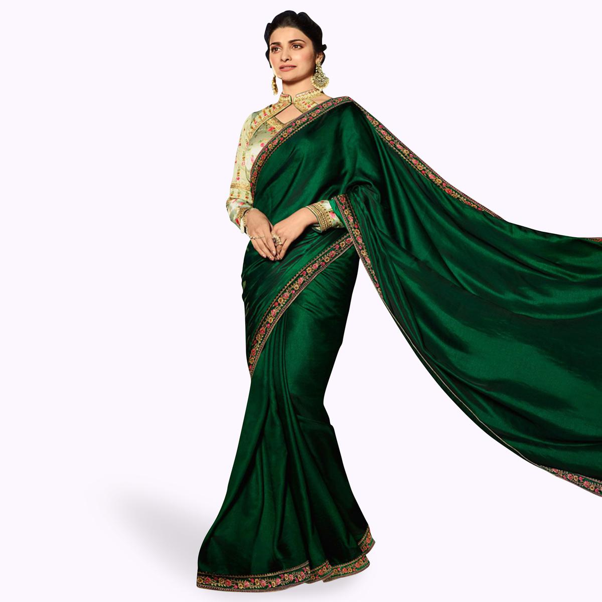 Desirable Dark Green Colored Partywear Embroidered Georgette Saree