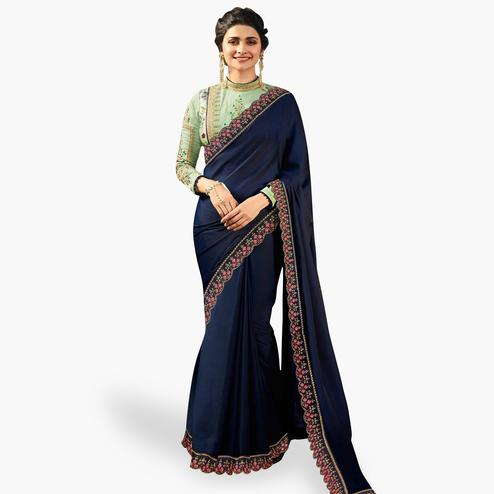 Sophisticated Navy Blue Colored Partywear Embroidered Silk Saree