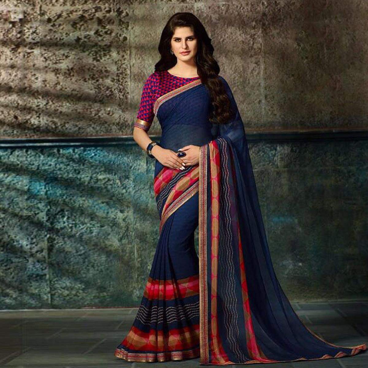 Beautiful Navy Blue Printed Casual Wear Marble Georgette Saree