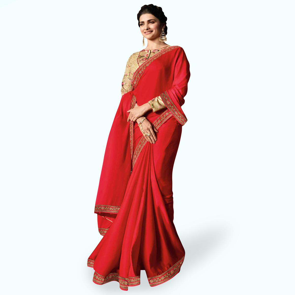 Trendy Deep Red Colored Partywear Embroidered Georgette Saree