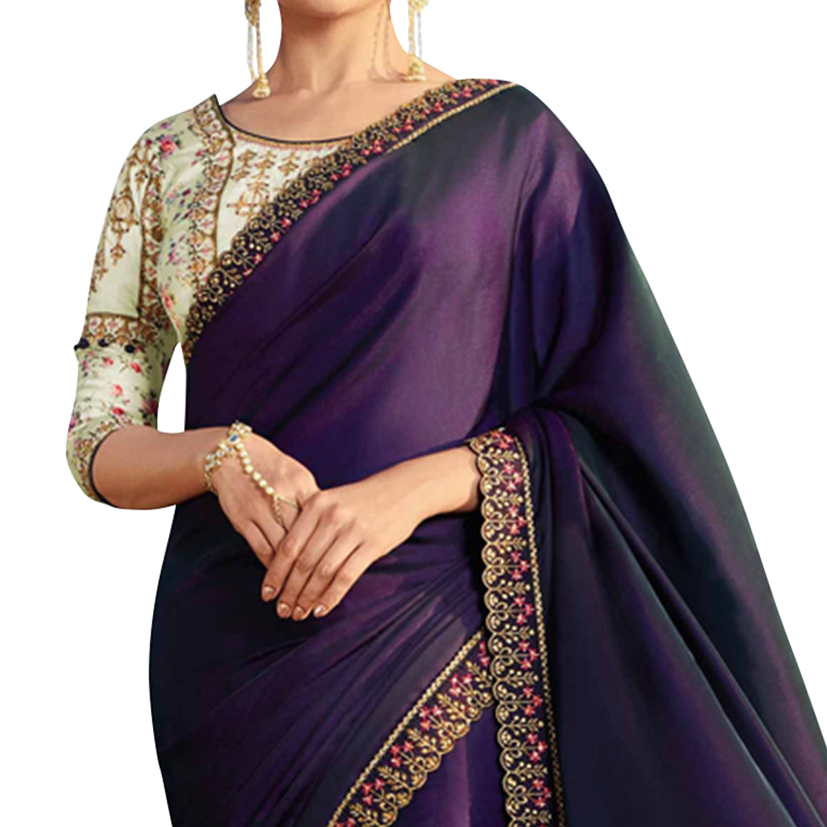 Radiant Violet Colored Partywear Embroidered Georgette Saree