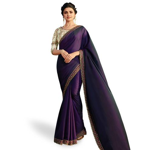Radiant Violet Colored Partywear Embroidered Silk Saree