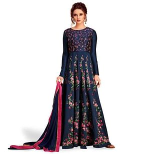 Sophisticated Navy Blue Colored Partywear Embroidered Silk & Net Anarkali Suit