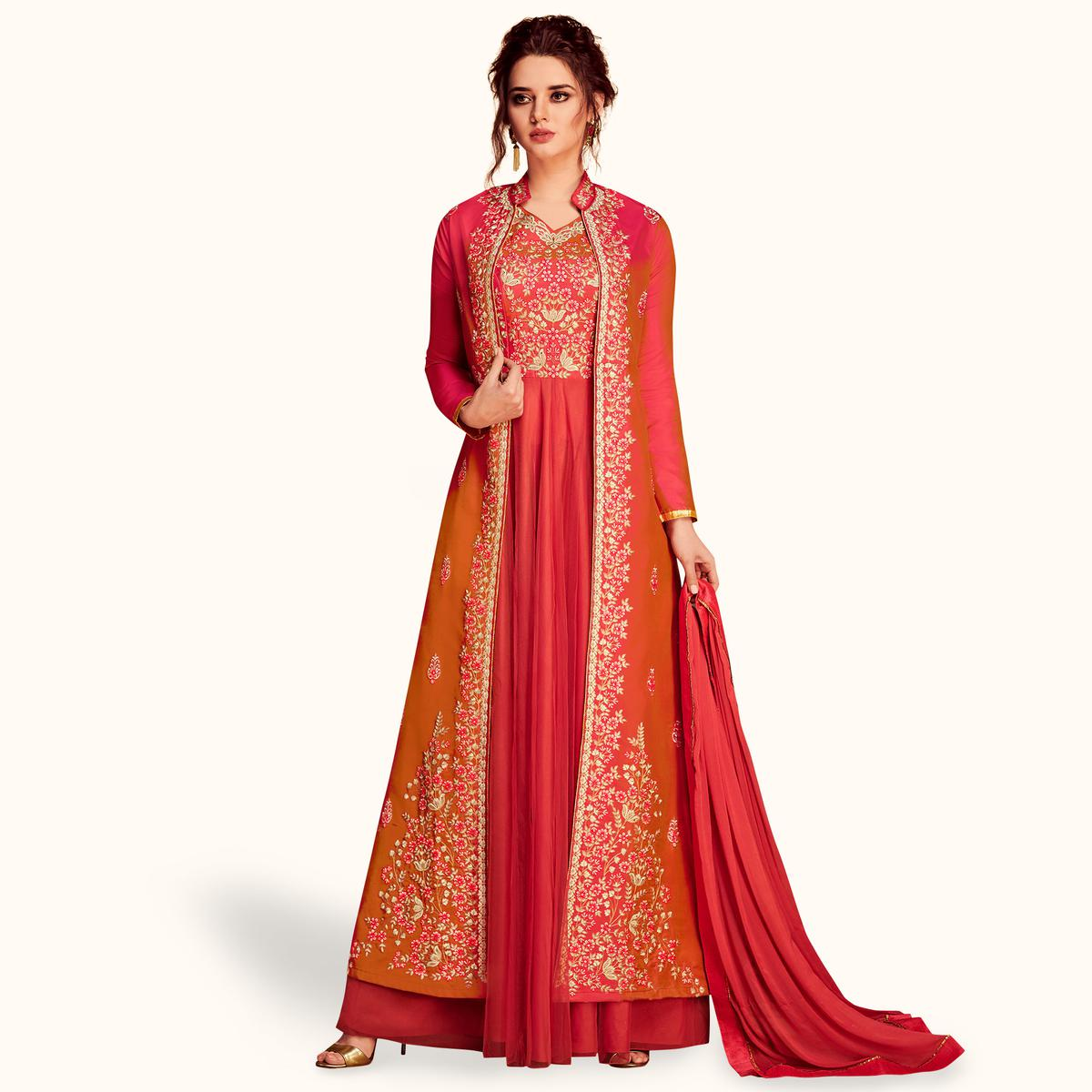 Impressive Pink Colored Partywear Embroidered Silk & Net Jacket Style Anarkali Suit