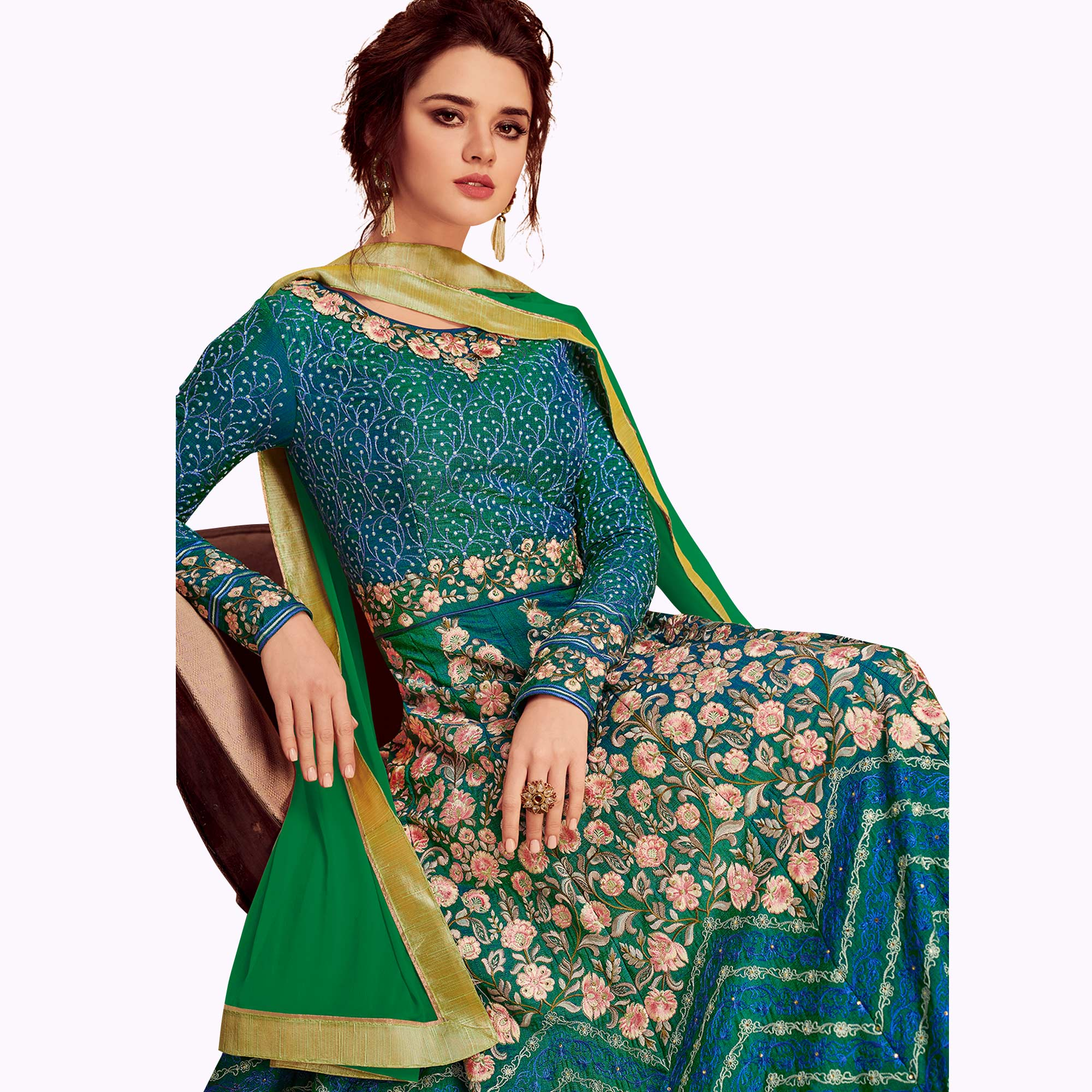 Stunning Blue Colored Partywear Embroidered Silk & Net Anarkali Suit