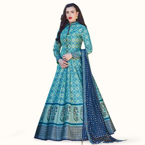 Adorning Firozi Colored Partywear Digital Printed Silk Gown