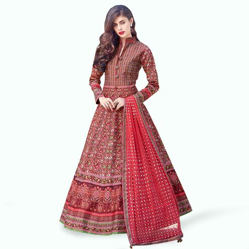 Capricious Red Colored Partywear Digital Printed Silk Gown