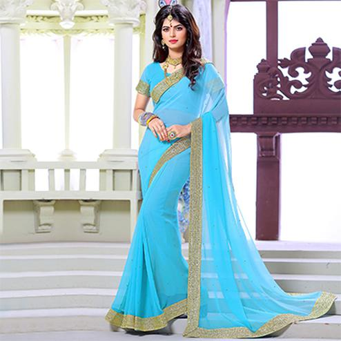 Light Blue Border Work Georgette Saree