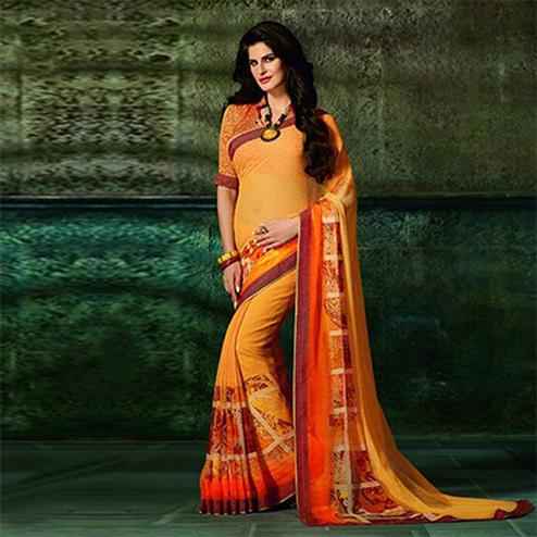 Ravishing Yellow-Orange Printed Casual Wear Marble Georgette Saree