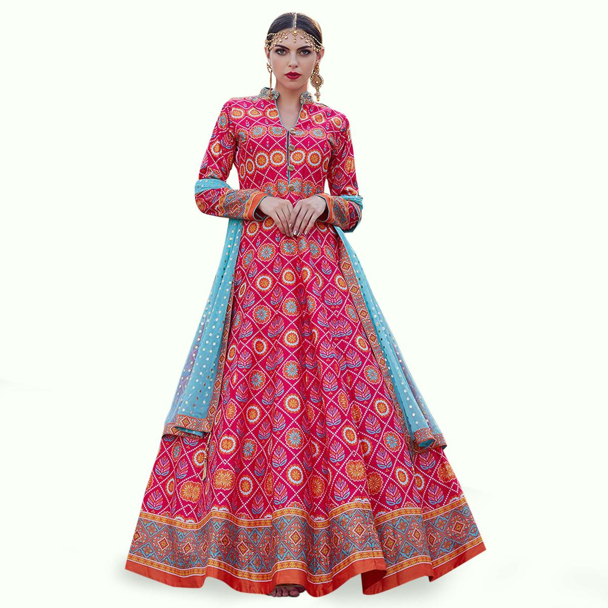 Groovy Pink Colored Partywear Digital Printed Silk Gown
