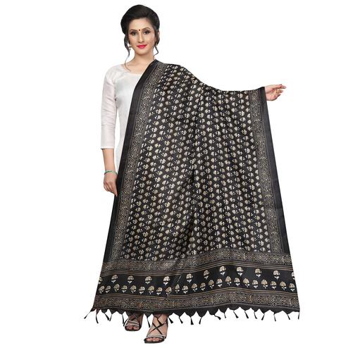 Delightful Black Colored Festive Wear Printed Khadi Silk Dupatta
