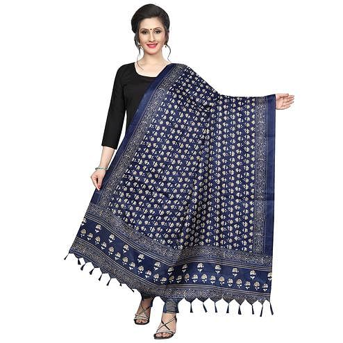Engrossing Navy Blue Colored Festive Wear Printed Khadi Silk Dupatta