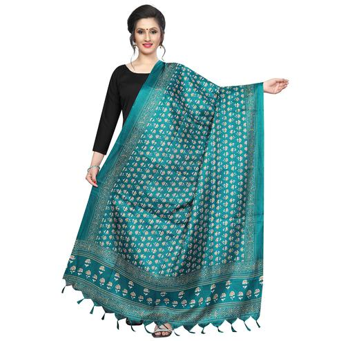Captivating Rama Green Colored Festive Wear Printed Khadi Silk Dupatta