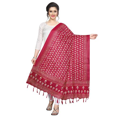 Innovative Red Colored Festive Wear Printed Khadi Silk Dupatta
