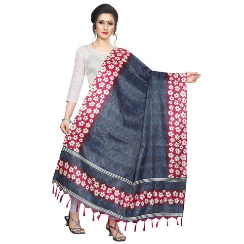 Eye-catching Gray Colored Festive Wear Printed Khadi Silk Dupatta